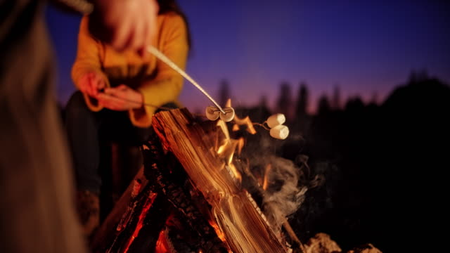 slo mo male hand holding a skewer with marshmallow over the campfire at night - marshmallow video stock e b–roll