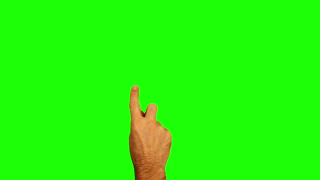 Male hand. Tablet. Touchscreen gestures. Green Screen.