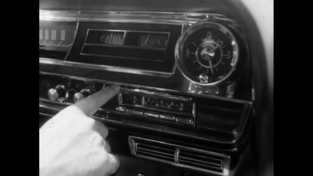 cu male hand uses a car radio; 1964 - radio broadcasting stock videos & royalty-free footage