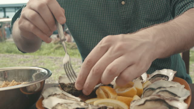 male hands close up and a plate with oysters - mollusc stock videos & royalty-free footage
