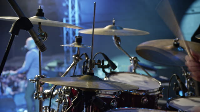 male hands playing drums in concert - drum kit stock videos & royalty-free footage