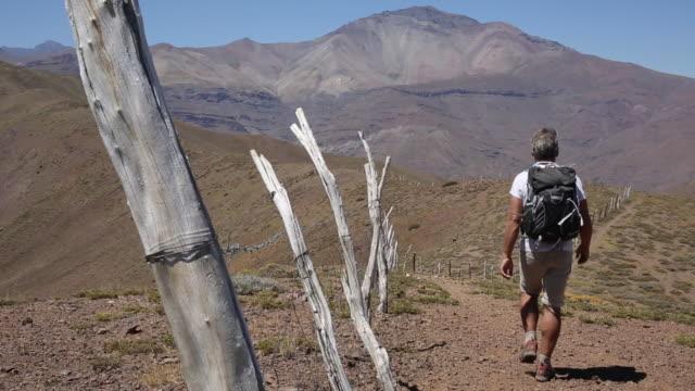 vídeos y material grabado en eventos de stock de el excursionista masculino sigue el rastro junto a la fenceposts - camino santiago