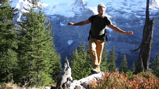 Male hiker walks along log through mountain meadow