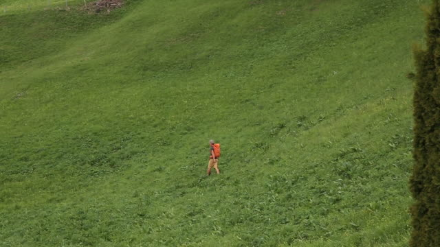 Male hiker walks through grassy mountain meadow, below village