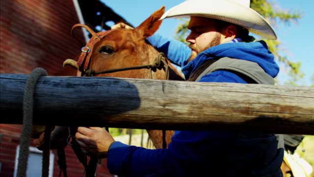 male horse rider with saddle on dude ranch - saddle stock videos & royalty-free footage