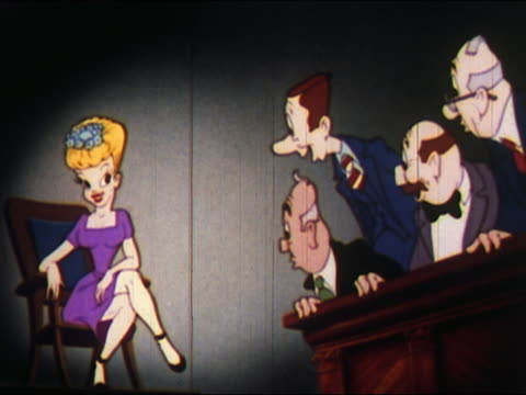 1948 animation male jurors leering and whistling at female witness - staring stock videos & royalty-free footage