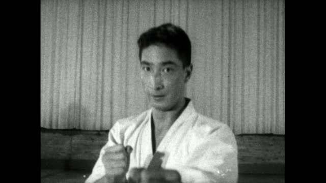 ms male karate student 'attacks' camera; 1959 - 1959 stock videos & royalty-free footage