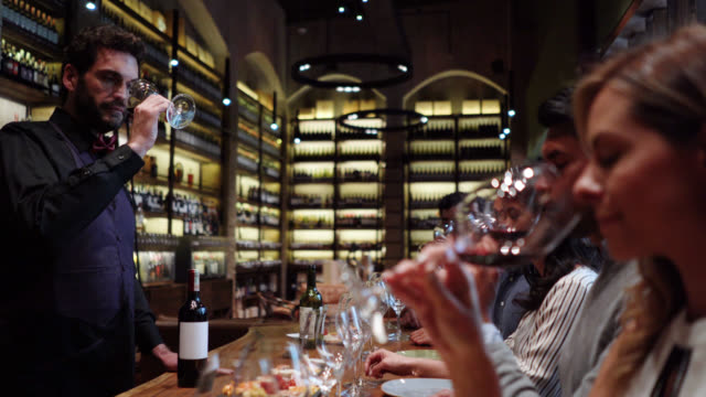 male latin american sommelier talking to group of friends during a wine tasting class - refreshment stock videos & royalty-free footage