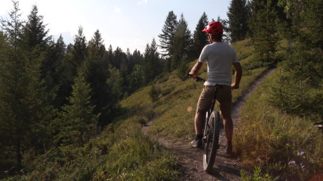 male mountain biker pauses at fork in trail, continues onwards - mountain biking stock videos & royalty-free footage