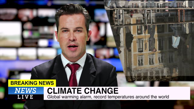 male news presenter reading the evening news about climate change - tv reporter stock videos & royalty-free footage