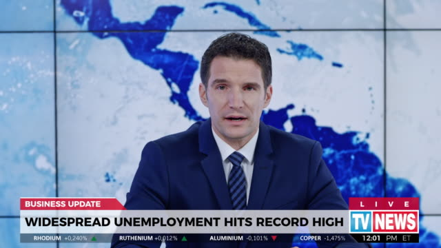 ld male news reporter reporting live from the field about high unemployment rate - western script stock videos & royalty-free footage