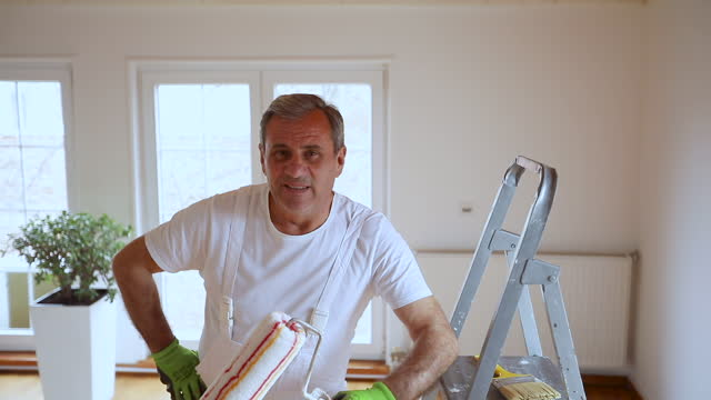male painter - mature men stock videos & royalty-free footage