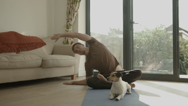 male practicing yoga exercise at home together with dog during lockdown - 30 34 years stock videos & royalty-free footage