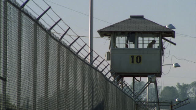 ms male prison guard in watch tower, folsom state prison, folsom, california, usa - tower stock videos & royalty-free footage
