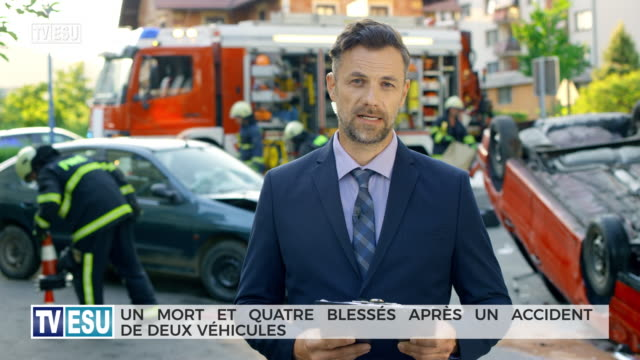 male reporter reporting from the scene of a car accident - french language stock videos & royalty-free footage