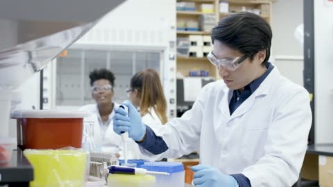 male researcher transfers liquid sample solution - pipette stock videos & royalty-free footage