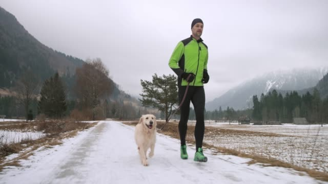 male runner and his dog running on a snowy walkway on a cold winter day - one mature man only stock videos & royalty-free footage