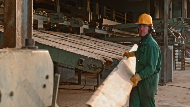 male sawmill worker using a lumber edger - lumberyard stock videos and b-roll footage