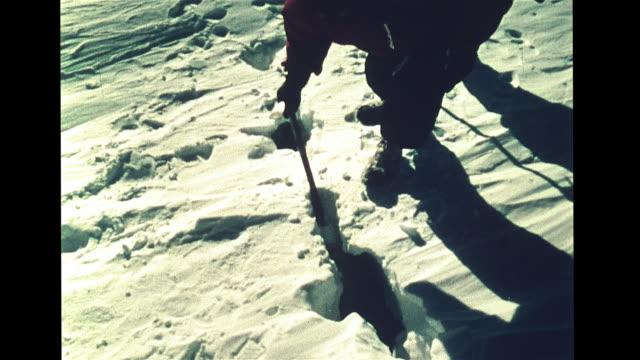 vs male scientists walking on snow covered ice estimating depth w/ rod testing edge w/ body weight td crevasse split snow ice male walking near crack... - antarctica scientist stock videos & royalty-free footage