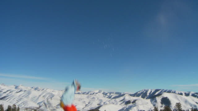 la slo mo male skier 360 off jump / blaine county, idaho, united states - 18 19 years stock videos & royalty-free footage