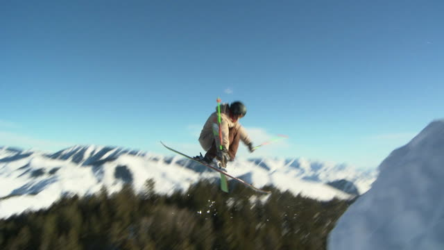 la slo mo male skier 360 off jump / blaine county, idaho, united states - one teenage boy only stock videos & royalty-free footage