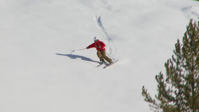 male skier carving through back-country powder / blaine county, idaho, united states - pulverschnee stock-videos und b-roll-filmmaterial