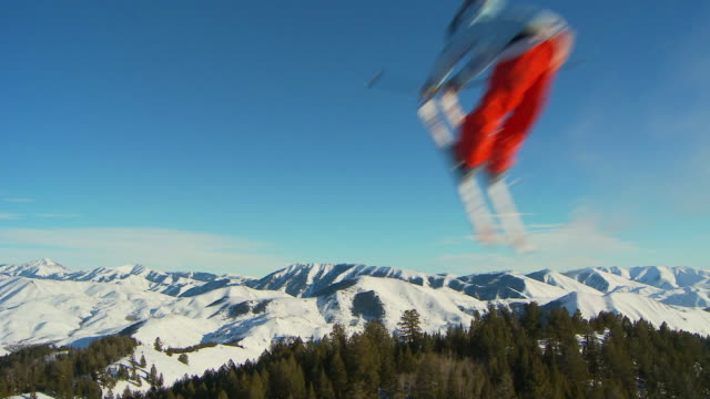 la slo mo male skier tip grab of jump / blaine county, idaho, united states - 18 19 years stock videos & royalty-free footage