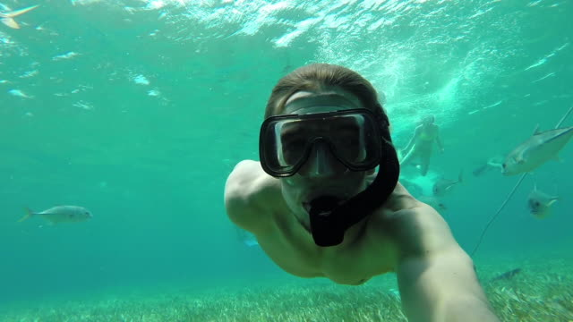 Male snorkeler in the Caribbean