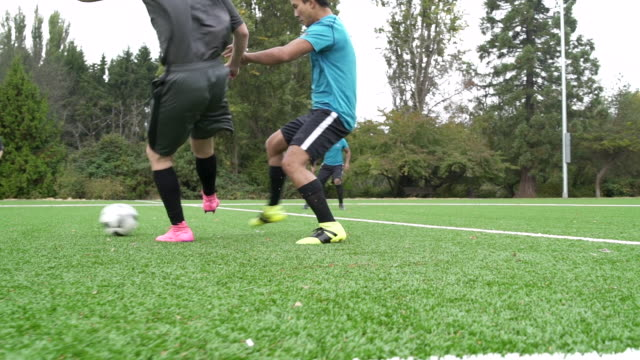 stockvideo's en b-roll-footage met male soccer players playing soccer game. - schoppen lichaamsbeweging