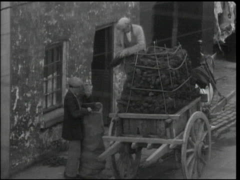 vídeos de stock e filmes b-roll de male standing on top of cart stacked w/ peat throwing briquettes down to man holding sack open ws young boy standing w/ resting sheep near shop fuel... - 1944
