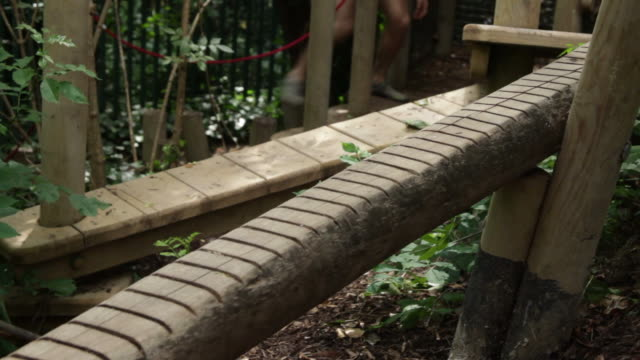 Male stepping on balancing bar on fitness trail