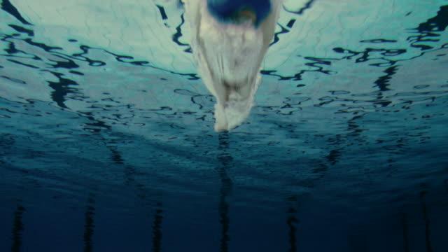 vídeos y material grabado en eventos de stock de macho nadador salto en piscina - forzudo