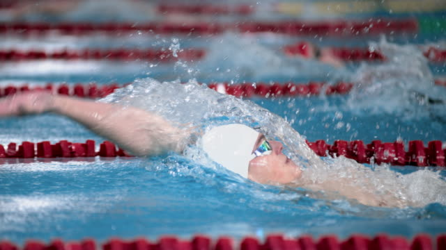 SLO MO TS Male swimmer performing a turn at backstroke style competition