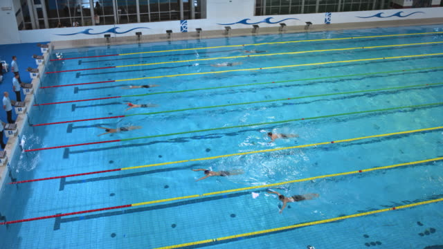 Male swimmers'  finish in a breaststroke style competition