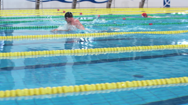 TS Male swimmers sprinting to the finish in breaststroke competition