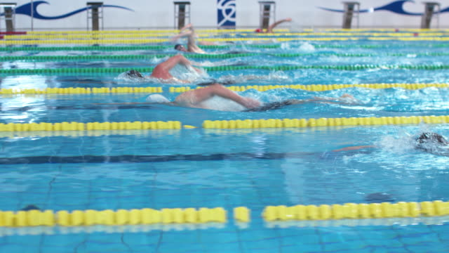 TS Male swimmers swimming front crawl technique at freestyle competition