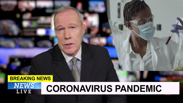male television news presenter in tv studio, breaking news about coronavirus vaccine - breaking news stock videos & royalty-free footage