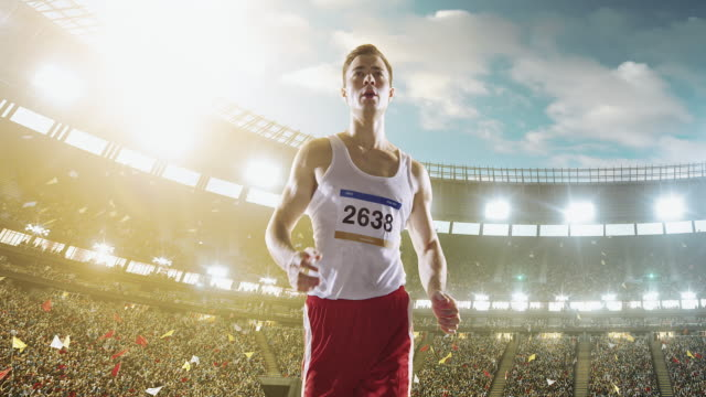 male track and field runner - track and field event stock videos and b-roll footage