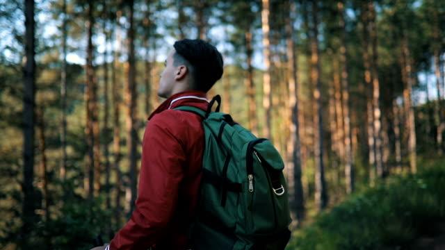 Männliche Reisende genießen Sie den Blick auf den Wald