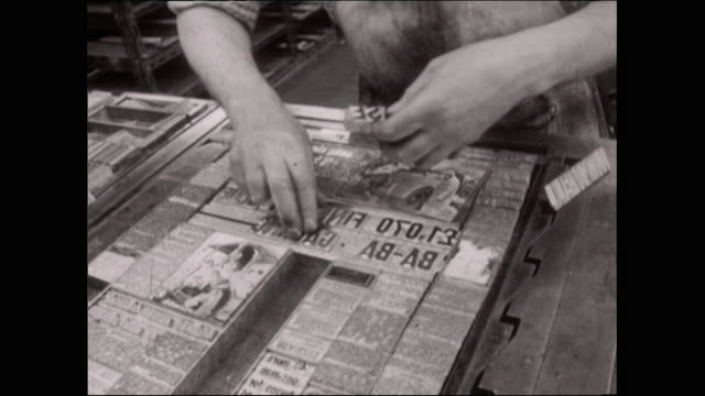 male typesetter arranges metal type in a frame - order stock videos & royalty-free footage