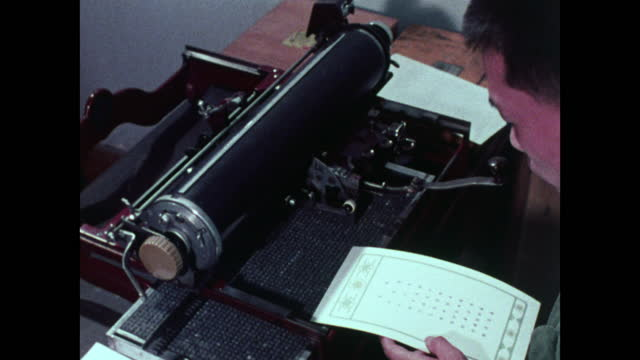 male typist using a chinese typewriter in an office; 1973 - printing out stock videos & royalty-free footage