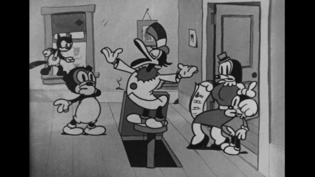 Male vaudeville duck interrupts stage mother and her daughter in Cubby Bear's office