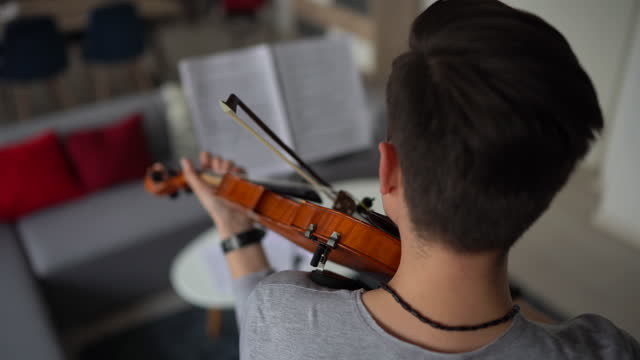 male violinist rehearsing music piece - sketch comedy stock videos & royalty-free footage