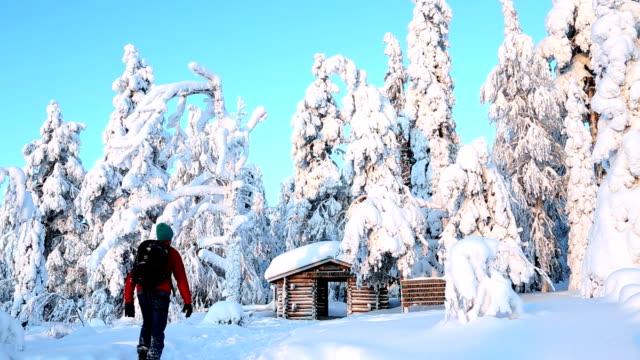 Male walker Riisitunturi NP snowy frozen Lapland Finland