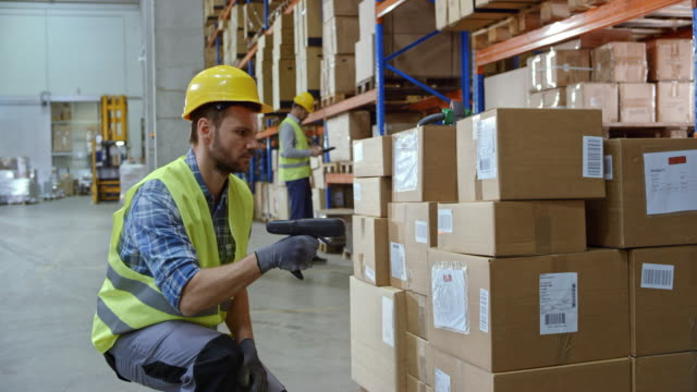 Male warehouse employee scanning the packages on the pallet with a handheld scanner