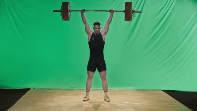 ld male weightlifter performing the clean and jerk lift - weight training stock videos & royalty-free footage
