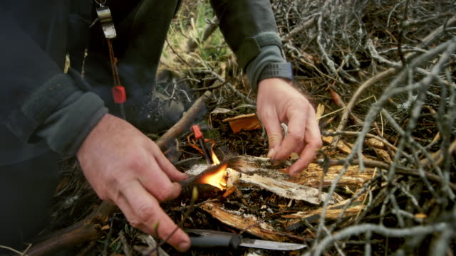 male wilderness survival expert lighting a fire on a forest clearing - survival stock videos & royalty-free footage