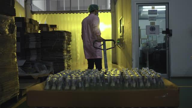 manlig arbetare drar vagn med dryckesflaskor i fabriken - kylskåp bildbanksvideor och videomaterial från bakom kulisserna