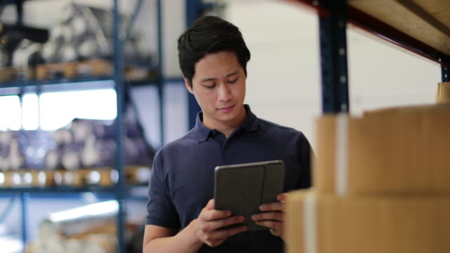 vidéos et rushes de male working in distribution warehouse with digital tablet - chinese culture
