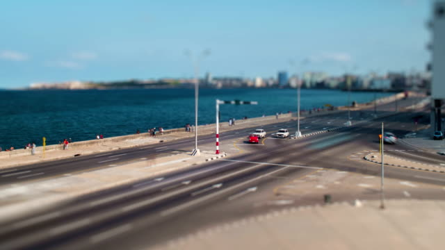 malecon traffic long exposure time lapse with tilt-shift miniature effect, havana, cuba - hotel nacional stock videos and b-roll footage